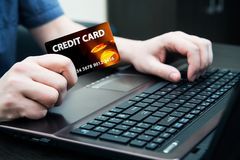 Man holding colorful credit card Royalty Free Stock Photo