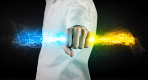 Man holding colorful glowing data in his hands Royalty Free Stock Photo