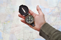 Man holding Compass Stock Photography