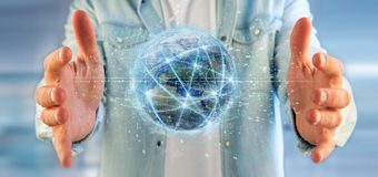 Man holding Connection around a world globe 3d renderin stock photo