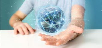 Man holding Connection around a world globe 3d rendering royalty free stock image