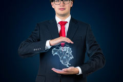 Man holding continent Americaon Stock Photos