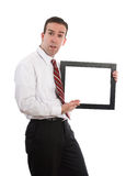Man Holding Copyspace Stock Photo