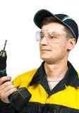 Man holding a cordless screwdriver Royalty Free Stock Photography
