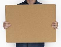 Man Holding Cork Board Copy Space Concept Stock Photos