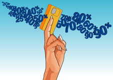 Man holding credit card, close-up of hand. Man holding credit card with various numbers consisting of different objects in vector. Vector art in Adobe Royalty Free Stock Photography