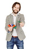 Man holding a credit card isolated on white background Royalty Free Stock Image