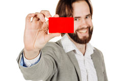 Man holding a credit card isolated on white background Stock Photos