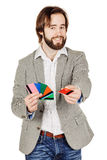 Man holding a credit card isolated on white background Stock Photo