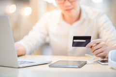 Man holding credit card for online shopping Stock Photo
