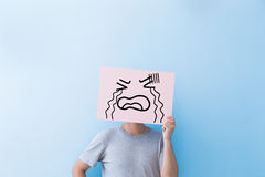 Free Man Holding Crying Expression Billboard Royalty Free Stock Image - 77554306