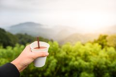 Man holding cup of hot coffee with calm greenery mountain view royalty free stock photo