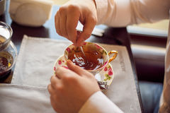 man holding a cup of tea Royalty Free Stock Image