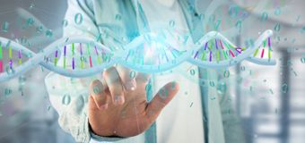 Man holding a 3d rendering data coded Dna with binary file aroun. View of a Man holding a 3d rendering data coded Dna with binary file around Royalty Free Stock Images