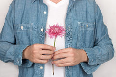 Man holding daisy Royalty Free Stock Images