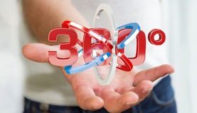 Man holding 360 degree 3D render icon in his han. Man on blurred background holding 360 degree 3D render icon in his hand Royalty Free Stock Photography