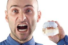 Man holding dental mould Royalty Free Stock Image