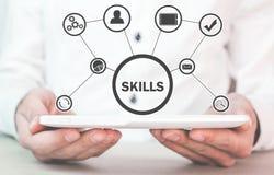 Man holding digital tablet. Business Skills Concept stock photo