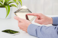 Man holding digital tablet. Royalty Free Stock Photography