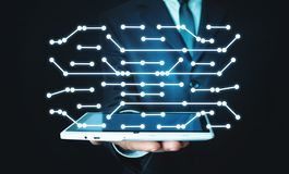 Man holding digital tablet. Connecting dots technology. Network stock images
