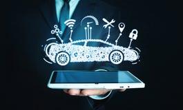 Man holding digital tablet. Modern smart car. Transportation, Technology Concept stock photography