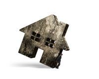 Man holding dirty concrete house Royalty Free Stock Photo