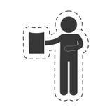 Man holding document figure pictogram Stock Photography