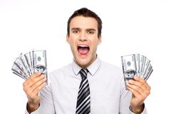 Man holding dollar bills and screaming Stock Image