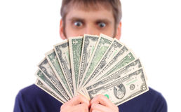 Man holding dollars Stock Photo