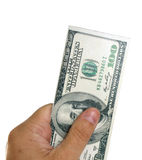 Man holding dollars. A man holding dollars in his hand Royalty Free Stock Image