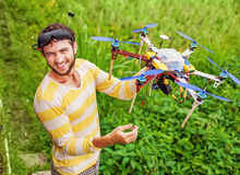 Man holding a drone Royalty Free Stock Photos