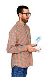 Man holding drone controller. Stock Image