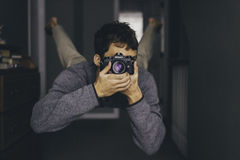 Man Holding Dslr Camera Wearing Gray Long Sleeves Shirt While Stock Photos