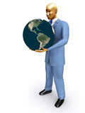 Man holding Earth. Isolated on white Stock Photos