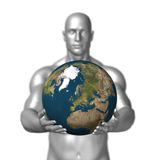 Man holding earth Royalty Free Stock Image