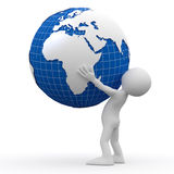 Man holding Earth with his hands Stock Photo