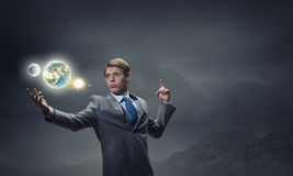 Man holding Earth planet Royalty Free Stock Photo