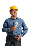 Man holding an electrical bulb Royalty Free Stock Photo