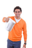 Man holding electrical kettle to pour boiling water Stock Photography