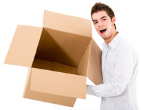 Man holding an empty box Stock Photography