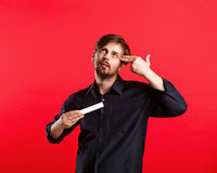 Man holding an empty copyspace Stock Images