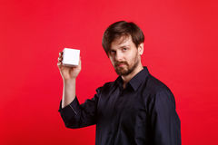 Man holding an empty cube Stock Photography
