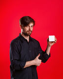 Man holding an empty cube Royalty Free Stock Photo