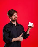 Man holding an empty cube Royalty Free Stock Photos