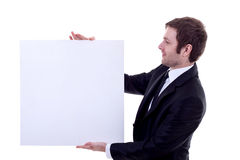 Man holding an empty sign Stock Image