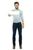 Man holding empty sign Royalty Free Stock Image