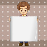 A man holding an empty template Stock Image