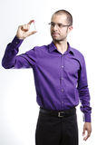 Man holding empty test tube. Portrait of standing man holding in hands empty test tube Stock Images