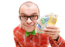 Man holding euro money Stock Image