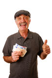 Man holding euros. Man holding euro banknotes and giving the thumbs up isolated on white Stock Photography